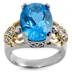8.20 CTW Blue Topaz & Diamond Ring 10K 2-Tone Gold - REF-52W7H - 10602