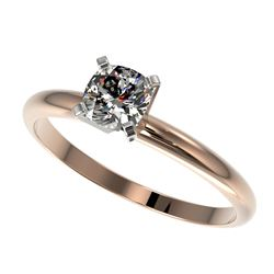 0.50 CTW Certified VS/SI Quality Cushion Cut Diamond Solitaire Ring 10K Rose Gold - REF-77A6V - 3287