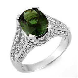 4.55 CTW Green Tourmaline & Diamond Ring 18K White Gold - REF-138R9K - 11607
