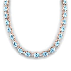 37.5 CTW Aquamarine & VS/SI Certified Diamond Eternity Necklace 10K Rose Gold - REF-425M5F - 29417