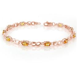 3.51 CTW Yellow Sapphire & Diamond Bracelet 14K Rose Gold - REF-49V5Y - 11035