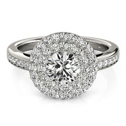 0.85 CTW Certified VS/SI Diamond Solitaire Halo Ring 18K White Gold - REF-104F2N - 26455