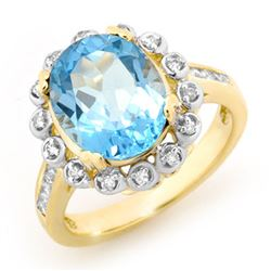 5.33 CTW Blue Topaz & Diamond Ring 10K Yellow Gold - REF-53K6W - 13440