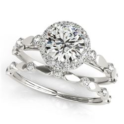 0.86 CTW Certified VS/SI Diamond 2Pc Wedding Set Solitaire Halo 14K White Gold - REF-123W6H - 30855