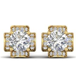 1.85 CTW Certified VS/SI Diamond Art Deco Stud Earrings 14K Yellow Gold - REF-210N2A - 30278