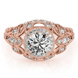 1.25 CTW Certified VS/SI Diamond Solitaire Antique Ring 18K Rose Gold - REF-223R6K - 27331