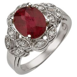 3.25 CTW Rubellite & Diamond Ring 10K White Gold - REF-64R5K - 10887
