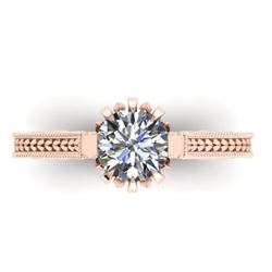 1 CTW Solitaire Certified VS/SI Diamond Ring 14K Rose Gold - REF-287H3M - 38545
