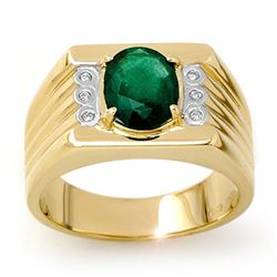 2.06 CTW Emerald & Diamond Men's Ring 10K Yellow Gold - REF-73Y8X - 13513