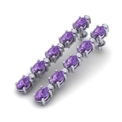 10.36 CTW Amethyst & VS/SI Certified Diamond Tennis Earrings 10K White Gold - REF-58V2Y - 29385