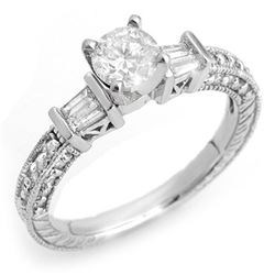1.08 CTW Certified VS/SI Diamond Ring 18K White Gold - REF-143R3K - 10357