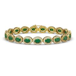 15.2 CTW Emerald & Diamond Bracelet Yellow Gold 10K Yellow Gold - REF-255K3W - 40453