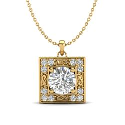 1.02 CTW VS/SI Diamond Solitaire Art Deco Necklace 18K Yellow Gold - REF-200V2Y - 37273