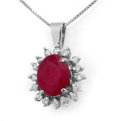 5.32 CTW Ruby & Diamond Pendant 14K White Gold - REF-87A3V - 12692