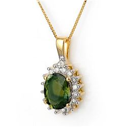 3.45 CTW Green Tourmaline & Diamond Necklace 14K Yellow Gold - REF-78W5H - 11139