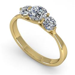 1 CTW Past Present Future Certified VS/SI Diamond Ring Martini 18K Yellow Gold - REF-153K8W - 32254