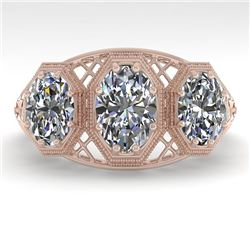 2 CTW Past Present Future VS/SI Oval Cut Diamond Ring 18K Rose Gold - REF-421W6H - 36065