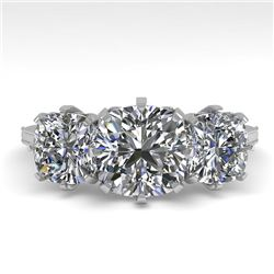 2 CTW Solitaire Past Present Future VS/SI Cushion Diamond Ring 18K White Gold - REF-414R2K - 35787