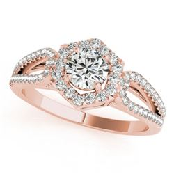 0.90 CTW Certified VS/SI Diamond Solitaire Halo Ring 18K Rose Gold - REF-137K3W - 26755