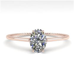 1.0 CTW VS/SI Oval Cut Diamond Solitaire Engagement Ring Size 7 18K Rose Gold - REF-287Y4X - 35891