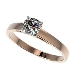 0.50 CTW Certified VS/SI Quality Cushion Cut Diamond Solitaire Ring 10K Rose Gold - REF-64A3V - 3296