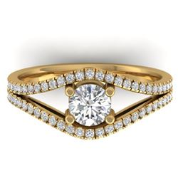 1.05 CTW Certified VS/SI Diamond Art Deco Ring 14K Yellow Gold - REF-126K7W - 30302