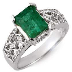 2.75 CTW Emerald & Diamond Ring 18K White Gold - REF-90H9M - 11182