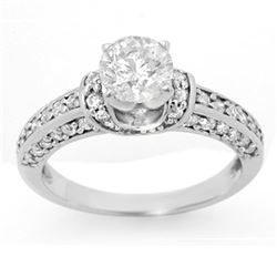 1.60 CTW Certified VS/SI Diamond Ring 14K White Gold - REF-283M6F - 11593