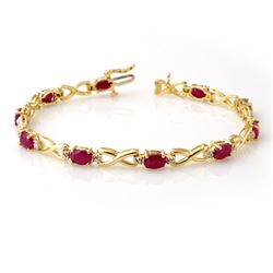 8.50 CTW Ruby & Diamond Bracelet 10K Yellow Gold - REF-78X9R - 14067