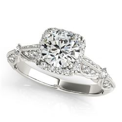 1.36 CTW Certified VS/SI Diamond Solitaire Halo Ring 18K White Gold - REF-388V4Y - 26527
