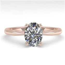1 CTW Oval Cut VS/SI Diamond Engagement Designer Ring 18K Rose Gold - REF-280F3N - 32405