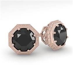 1.0 CTW Black Diamond Stud Solitaire Earrings 18K Rose Gold - REF-52N5A - 35954