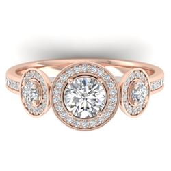 1.25 CTW Certified VS/SI Diamond Art Deco 3 Stone Micro Halo Ring 14K Rose Gold - REF-134N5A - 30361