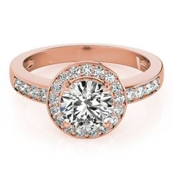 1.20 CTW Certified VS/SI Diamond Solitaire Halo Ring 18K Rose Gold - REF-214F5N - 26968