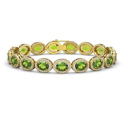 21.13 CTW Peridot & Diamond Bracelet Yellow Gold 10K Yellow Gold - REF-286K5W - 40630