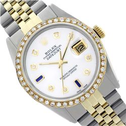 Rolex Ladies Two Tone 14K Gold/SS, Diam Dial & Diam/Sapphire Bezel, Sapphire Crystal - REF-440W4H