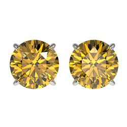 2.11 CTW Certified Intense Yellow SI Diamond Solitaire Stud Earrings 10K White Gold - REF-297N2A - 3