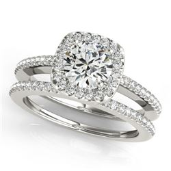 0.92 CTW Certified VS/SI Diamond 2Pc Wedding Set Solitaire Halo 14K White Gold - REF-134Y9X - 30993