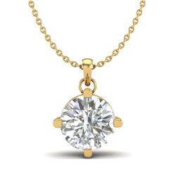 1 CTW VS/SI Diamond Solitaire Art Deco Stud Necklace 18K Yellow Gold - REF-285R2K - 37234