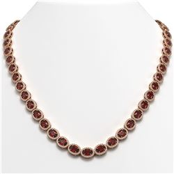 32.82 CTW Garnet & Diamond Necklace Rose Gold 10K Rose Gold - REF-501V3Y - 40446