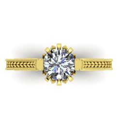1 CTW Solitaire Certified VS/SI Diamond Ring 14K Yellow Gold - REF-287N3A - 38546