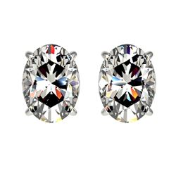 2 CTW Certified VS/SI Quality Oval Diamond Solitaire Stud Earrings 10K White Gold - REF-585X2R - 330