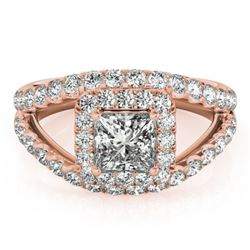 1.85 CTW Certified VS/SI Princess Diamond Solitaire Halo Ring 18K Rose Gold - REF-261A3V - 27196