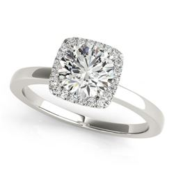 0.65 CTW Certified VS/SI Diamond Solitaire Halo Ring 18K White Gold - REF-98A2V - 26272