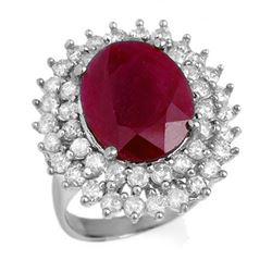 9.83 CTW Ruby & Diamond Ring 18K White Gold - REF-253K8W - 12985