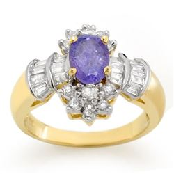 1.76 CTW Tanzanite & Diamond Ring 14K Yellow Gold - REF-74R7K - 10566
