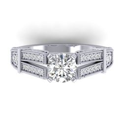 1.50 CTW Certified VS/SI Diamond Solitaire Art Deco Ring 14K White Gold - REF-373V3Y - 30474