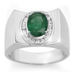 2.33 CTW Emerald & Diamond Men's Ring 10K White Gold - REF-58X5R - 14476