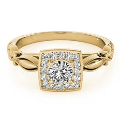 0.55 CTW Certified VS/SI Diamond Solitaire Halo Ring 18K Yellow Gold - REF-88X2R - 26256