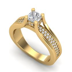 1.01 CTW Cushion Cut VS/SI Diamond Micro Pave Ring 18K Yellow Gold - REF-200A2V - 37162